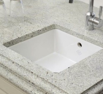 Granite worktop with under mounted ceramic sink