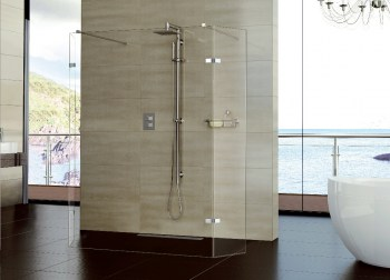 Aqata SP448 shower panel with 2 hinged panels