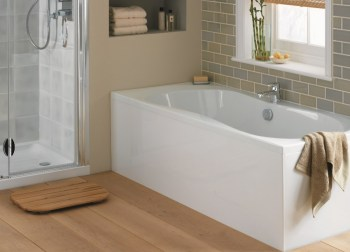 Single ended bath in white with monobloc mixer tap